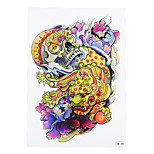 1pc Big Colorful Skull Kylin Picture Women Men Temporary Body Art Tattoo Chinese Dragon Decal Tattoo Sticker HB-295