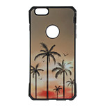 Coconut Tree Pattern Metal Plate Inlay TPU Back Case For iPhone 7 7 Plus 6s 6 Plus SE 5s 5