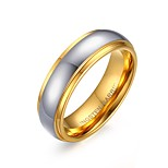 Women's Fashion Simple Tungsten Steel High Polished IP Gold Plating Couple Rings(White)(1Pc)