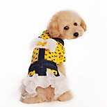 Cat Dog Dress Dog Clothes Spring/Fall Hearts Cute Fashion Yellow Rose