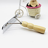 Cat / Dog Grooming Comb Pet Grooming Supplies Portable Khaki Stainless Steel / Wood