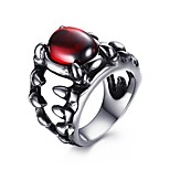 Men's Fashion 316L Titanium Steel Vintage Personality Claw Engraved Red Glass Statement Rings Casual/Daily Accessory