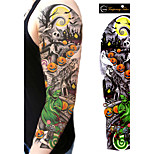1Pcs New Unisex Full Arm Waterproof Tattoo Sticker Men And Women Halloween Skull Temporary Tattoo Sticker Body Art