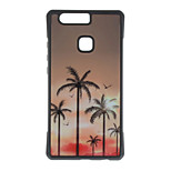 Coconut Tree Pattern Metal Plate Inlay TPU Back Case For Huawei P9 P9 Plus  P9 Lite