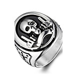 Men's Fashion 316L Titanium Steel Vintage Personality Skull Engraved Statement Rings Casual/Daily 1pc