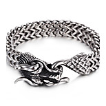 Cheap 316L Stainless Steel Link Chain Animal Dragon Charm Bracelet 2016 New Punk Hip Hop Jewelry Gift For Boyfriend