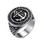 Anchor Rock Retro Drawing Titanium Steel Men's Ring