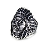 Men's  Fashion Personality  Cool  Indian's Portrait Stainless Steel High Polished Band Rings(1Pc)
