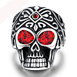 Punk Vintage 316L Stainless Steel Silver Skull Men Finger Ring Jewelry Red Gem Ring Men