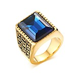 Men's Fashion Personality  Rhinestone Stainless Steel High Polished  IP Gold  Plating Band Rings(1Pc)