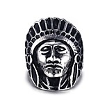 Indians Rock Retro Drawing Titanium Steel Men's Ring