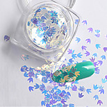 2g/box New Symphony Blue Bats/Maple Leaf/Apple Paillette Glitter Nails 3d Slice Powder Set DIY Design