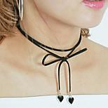 Women Simple Sweet Metal Love Pendant Flannel Tassel Short Choker Necklaces 1pc