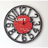 Modern/Zeitgenössisch / Leger Familie Wanduhr,Kreisförmig Metall 40*40*5 Innen/Aussen / Drinnen / Draußen Uhr