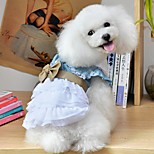 Dog Dress Dog Clothes Summer Spring/Fall Bowknot Holiday Fashion Blue