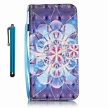 For Samsung Galaxy S7 edge S7  Case Cover with Stylus Crystal Flower 3D Painting PU Phone Case S6 edge S6 S5 S4