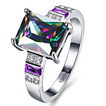 Pink Fire Opal Women Jewelry For Party Silver Black Gold Ring Rainbow Square Female Opal Ring