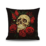 Halloween Rose & Skull Head  Linen Decorative Throw Pillow Case Cushion Cover