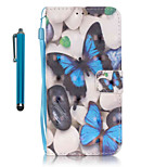 For Samsung Galaxy S7 edge S7  Case Cover with Stylus Blue Butterfly 3D Painting PU Phone Case S6 edge S6 S5 S4