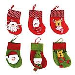 meias christams saco novo ano doce meia do Natal decoração meias Papai Noel enfeite de natal 6 pcs / lot