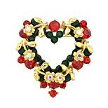 colorido esmalte broches de diamantes de imitación en forma de corazón
