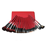 30 Makeup Brushes Set Goat Hair Professional / Portable Wood Face/Eye / Lip Red