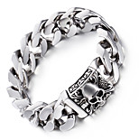 Kalen Punk Viking Skull Charm Bracelets High Polished 316L Stainless Steel Heavy Link Chain Bracelets For Men Gifts