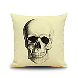 Halloween Skull Head Sketch Linen Decorative Throw Pillow Case Cushion Cover