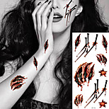 5pcs Waterproof  Horror Halloween Tattoo Wound Bloody Temporary Tattoo Sticker Body Art