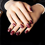 24Pcs Women Love Deep Wine Red Brief Paragraph Nail Strips Elegant And Sexy Intellectual Maturity 1Set