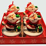 Christmas Candle  Cute Cartoon Santa Claus Chape 4 Pcs
