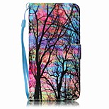 Big Tree  Painted Card Stent PU Leather Mobile Phone Holster Phone Case for Huawei P9 Lite Y5II Y6II