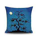 Halloween Night Owl Tree Square Linen Decorative Throw Pillow Case Cushion Cover