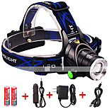 Cree XM-L2 T6 LED Headlamp Flashlights 3000 Lumens Lights 3 Mode 2*18650 Battery Charger Adjustable Focus / Waterproof / Rechargeable/Night Vision
