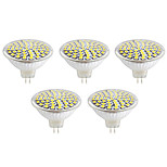 5pcs 60LEDs GU10/MR16 SMD2835 LED Spotlight 5W Heat-resistant Glass Body Cool/Warm White LED Bulbs light(AC220-240V)