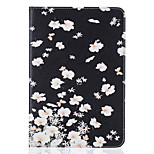 PU Leather Material Small White Flowers Embossed Pattern Flat Protective Cover for iPad Mini 123 4