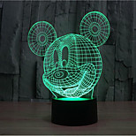 Mickey Mouse Touch Dimming 3D LED Night Light 7Colorful Decoration Atmosphere Lamp Novelty Lighting Christmas Light