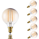 2W E12 LED Filament Bulbs G16.5 2 COB 160 lm Amber Dimmable 120V 6 pcs