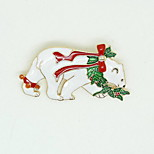 Christmas Women White Polar Bear Brooches