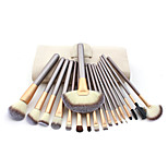 18 Makeup Brushes Set Synthetic Hair Professional / Portable Wood Handle Face/Eye/Lip