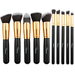 10 Makeup Brushes Set Nylon Professional / Portable Wood Face / Eye / Lip