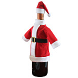 1pc Christmas Red Santa Suit Clothing Hat Wine Bottle Bag Cover Table Dinner Decoration Gift