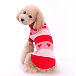 Cat Dog Sweater Dog Clothes Winter Spring/Fall Hearts Cute Casual/Daily Red Blue