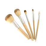 5 Makeup Brushes Set Synthetic Hair Portable Wood Face NFSS