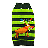 Christmas Dog Clothes Reindeer Green Stripe Dog Sweater for Pets