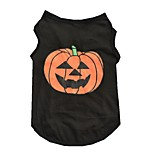 Cat Dog Shirt / T-Shirt Black Dog Clothes Summer Spring/Fall Pumpkin Cute Halloween