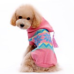 Cat Dog Sweater Hoodie Dog Clothes Winter Spring/Fall Color Block Cute Casual/Daily Pink