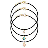 3pcs/set Women's Fashion Luxury European Vintage Oval Pendant Choker Necklace for Women