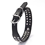 Dog Collar Adjustable/Retractable Solid Black PU Leather