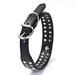 Dog Collar Adjustable/Retractable Solid Black PU Leather